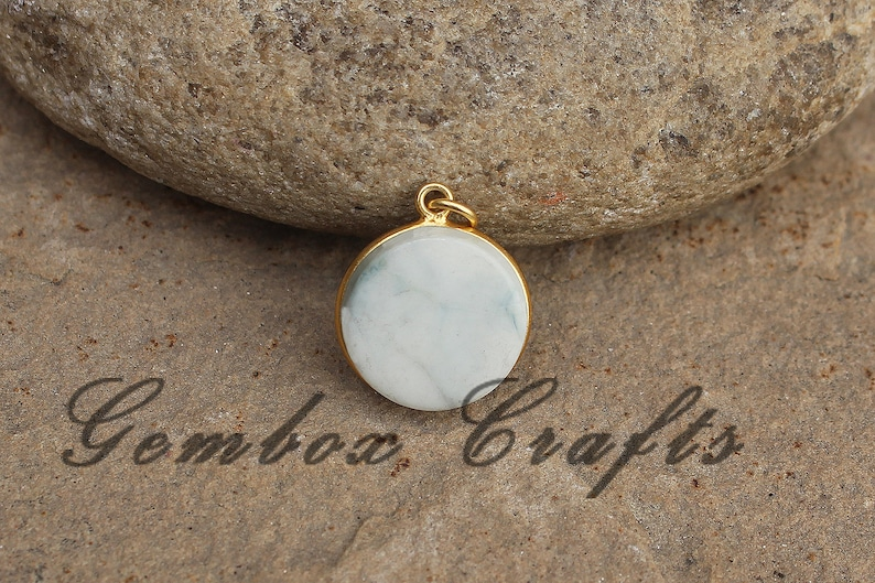 Howlite 25mm Round Both Side Flat Smooth 925 Sterling Silver Gold Plated Bezel Pendant