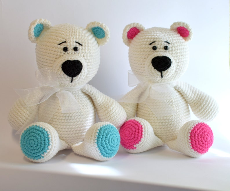 33d79ada3eb Crochet toy Amigurumi Knitted toy White Blue Pink Teddy bear