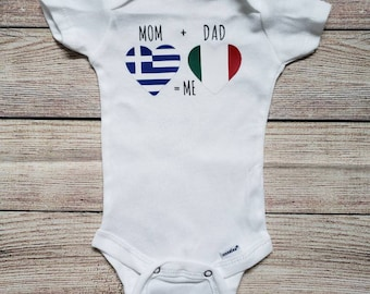 3b9d14d8f Mom Plus Dad Equals Me, Half, Flags, Nationalities, Diverse, Greek,  Italian, American, French, Irish, Russian, Indian,Countries, Baby Outfit