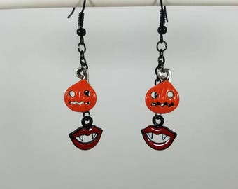 Pumpkin and fangs dangle earrings