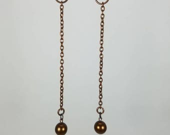 Copper Ball and Chain earrings