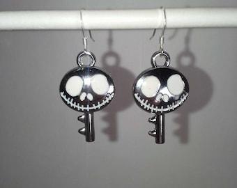 Nightmare Before Christmas, Silver Jack Skellington key, dangle earrings