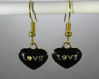 Black Love Heart w/Gold Tone Dangle Earrings