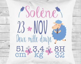 personalized pillow gift birth, deco room, purple sheep
