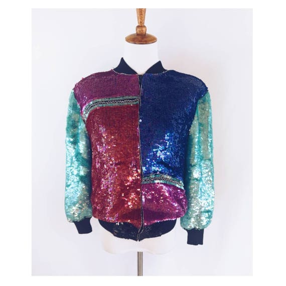 Candlelight Colorblock Sequin Bomber