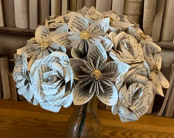 Paper Flower Bouquet with book pages of your choosing. paper flowers, Paper Roses.  Mother's day, paper anniversary, literary bouquets.