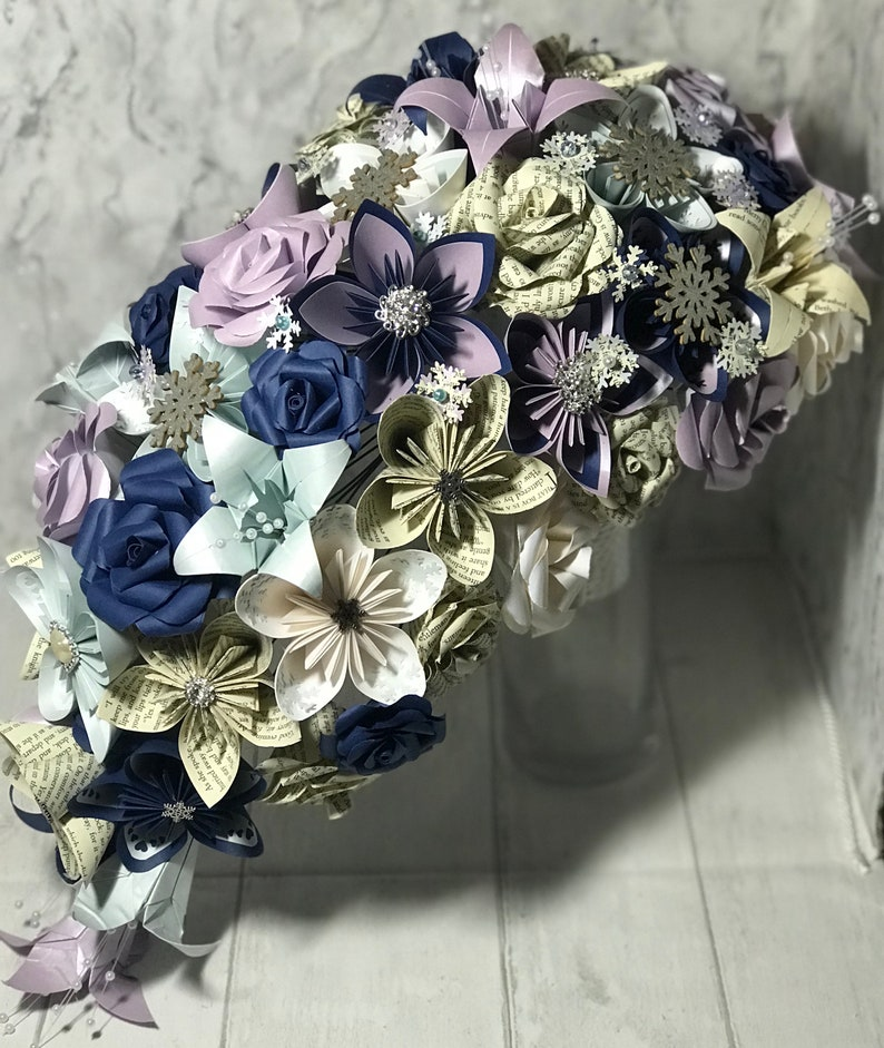 cascading wedding bouquet Made with paper flowers rustic wedding paper roses Teardrop wedding Bouquet large teardrop bouquet Active