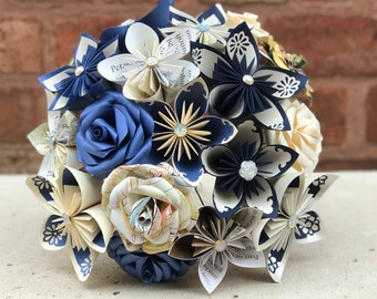 Paper Flower Bouquet with book pages. paper flowers Paper Roses. gift or bridal bouquet. First anniversary gift, Mother's day , wedding