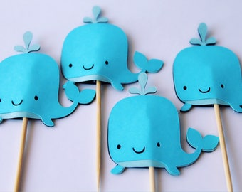 Whale cupcake topper birthday party baby shower sea party