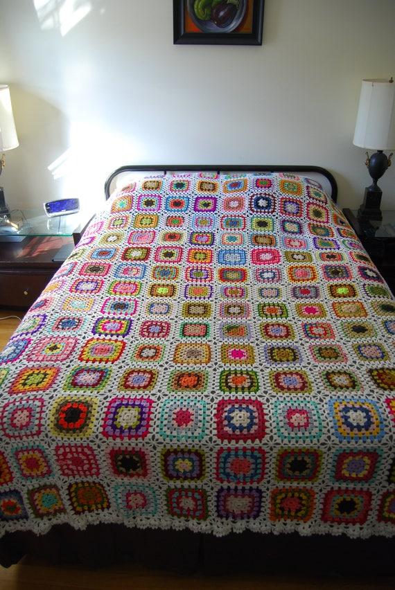 Strickdecke Gehäkelte Decke Handarbeit häkeln Tagesdecke Oma | Etsy