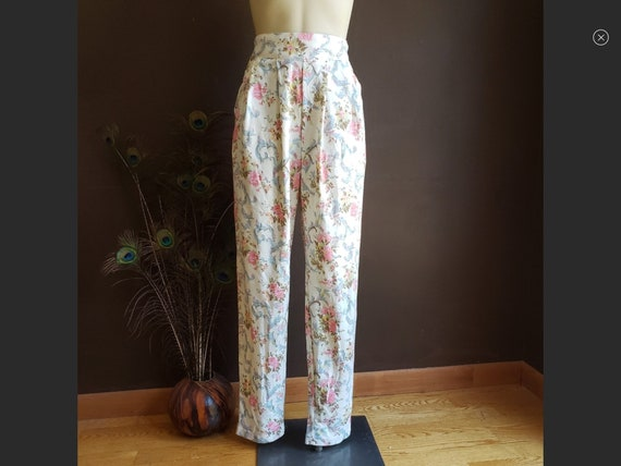 Vintage Floral Pleated Pants
