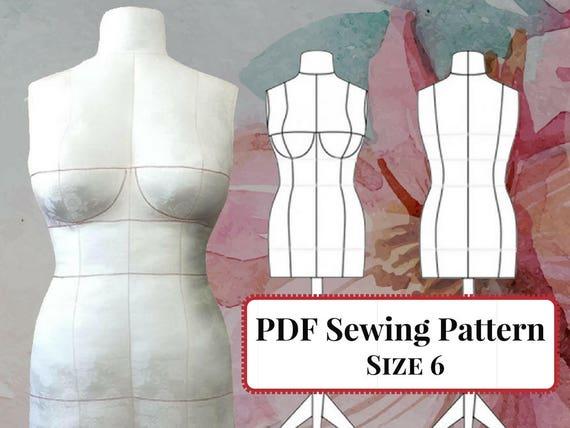 DIY-Kleid Form PDF-Schnittmuster Mannequin Größe 6 BH-Cups | Etsy
