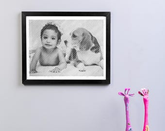 Black and White engraved portrait with Diagonal line engraving-12'X15'