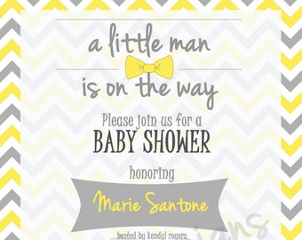 Little Man is on the way // Baby Boy Shower Invitation