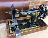 Antique Vintage Singer 128, 128K handcrank Sewing Machine with bentwood case