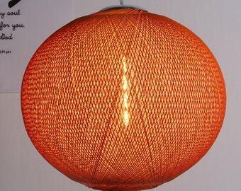 Pendant lamp shade etsy arturest rattan weaving pendant lamp canary white lampshade e26 base 15 foot transparent cord ceiling lights rattan lamp shade orange light aloadofball Image collections