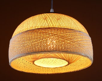 Wicker lamp shade etsy arturest chandelier ceiling pendant light lattice wicker rattan handmade light yellow lampshade e26 base 15 foot transparent cord light aloadofball