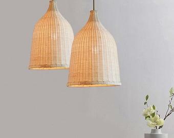 Wicker lamp shade etsy arturest handicraft elegant rattan ceiling pendant handmade wicker lamp shade aloadofball Choice Image