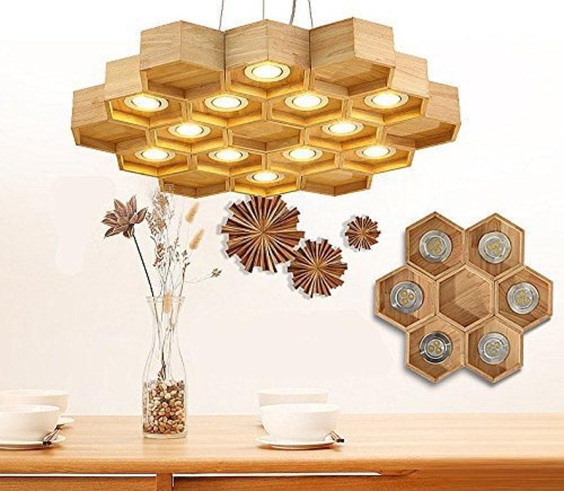 Handmade Wooden Home Decor Wooden Honeycomb Modern Creative Handmade Wood Led Hanging Pendant Image 0 ...