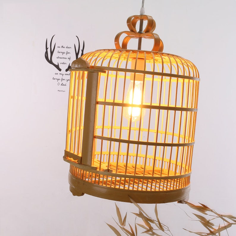 Artistic Home Decoration Ceiling Light Southeast Bamboo Pendant Lighting Country Rustic Ceiling Arturest Creative Bird Cage Lamp Shade