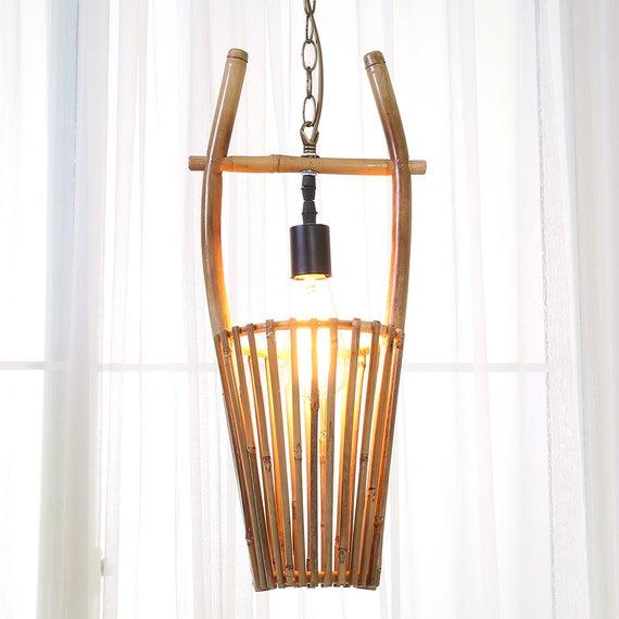 Arturest Craft Bamboo Hanging Lamp Mid Century Handmade Etsy
