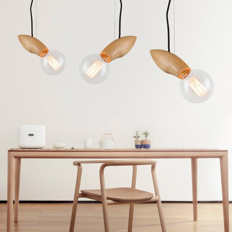 Dining Room Pendant Lighting E2627 Base 110-240V Arturest Creative Fish Pendant Light Unique Wood Hanging Lamp