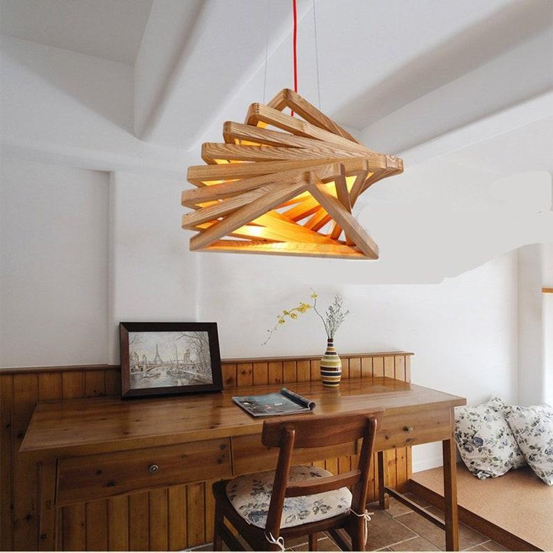 handmade wooden home decor wooden honeycomb modern creative handmade wood led hanging pendant Arturest Nordic Handmade Wooden Pedant Light Rotating Ladder   Etsy
