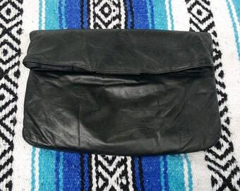 Berman Black Genuine Leather Envelope Clutch