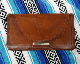 Brown Leather Envelope Clutch