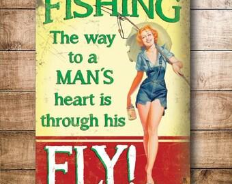 Fishing Flys Tackle 50s Retro Humor Funny Garage or Shed Novelty Fridge Magnet