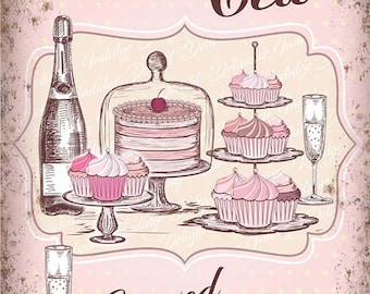 Afternoon High Tea Champagne Cake Cafe Shabby Chic Tearooms Small Metal/Tin Sign