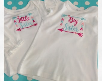 Big Sister Little SIster Matching Outfit Set with Arrows & Hearts
