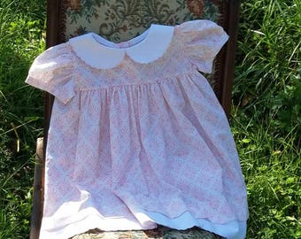 Baby girls dress, vintage style girls dress, scallop embroidered dress