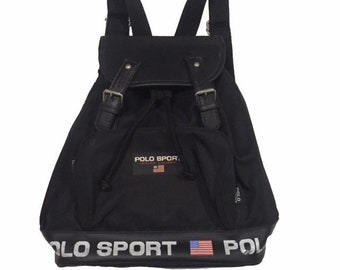 3305492f7308 Vintage90s Polo Sport Black Bag Backpack FreeShipping.
