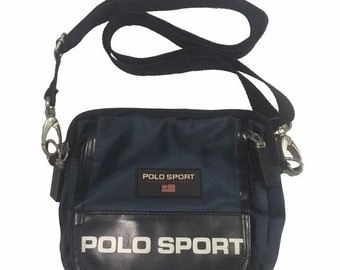 Vintage Polo Sport Ralph Lauren cross body Bag Navy FreeShipping. 4b06a95bb6598
