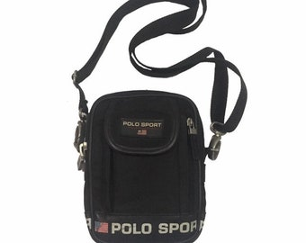 7c391b8341f8 Vintage Polo Sport Ralph Lauren cross body Bag Black FreeShipping.