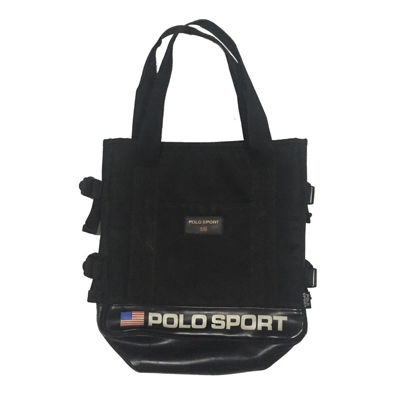 Vintage Polo Sport Ralph Lauren Black Totes Bag FreeShipping.  1a1bd2c222197