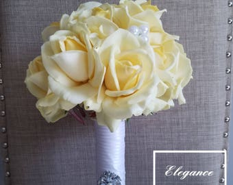 Yellow True Touch Bouquet, Bridal Bouquet, Wedding Bouquet, Toss Bouquet, Yellow, Roses