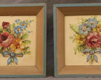 2 Vintage Original Paintings Country Floral