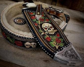 Custom Knife Sheath w Skulls and Roses