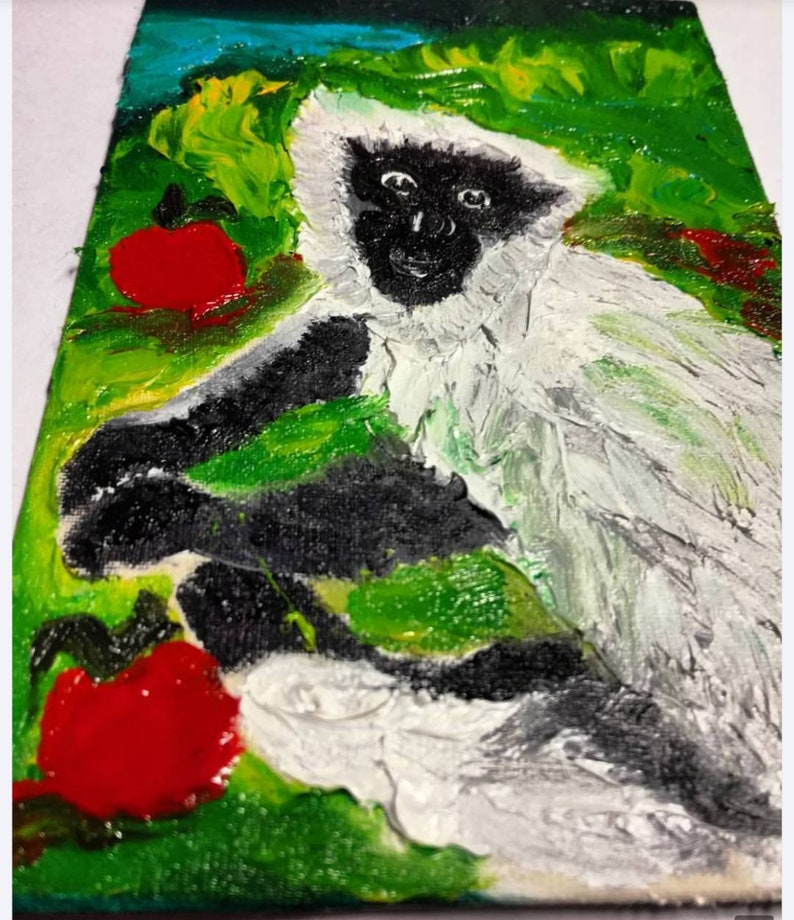 without frame canvas board 10x15cm Monkey  Finger painting Original fine art Oil on canvas 4x6