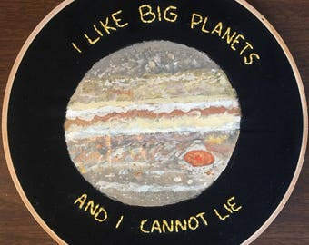 Jupiter Painting and Embroidery - Hand-stitched - Painted - Planet Embroidery