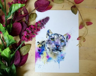 Snow Leopard Giclée Art Print - Big Cat Watercolour Painting - Animal Wall Art