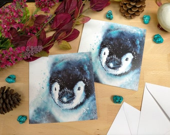 Baby Penguin Greetings Card | Colourful Animal Art | Christmas Card | Animal Christmas Card | Animal Painting |