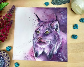 Canadian Lynx Wild Animal Painting | Original Watercolour Artwork | Wildlife Painting | Big Cat Art