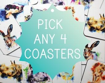 Pick 4 Coasters! | Watercolour Animal Painting | Animal Coaster Set | Safari Animal | Housewarming Gift | Home ware | New Home | Home Gift |