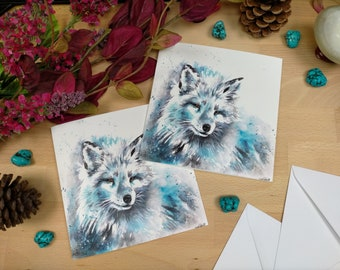 Arctic Fox Greetings Card | Colourful Animal Art | Christmas Card  | Animal Christmas Card | Animal Painting |