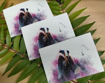 Badger Wild Animal Card | Wildlife Card | Christmas Card | Birthday Card | Animal Painting | British Wildlife Art