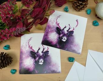 Reindeer Greetings Card | Colourful Animal Art | Christmas Card | Animal Christmas Card | Animal Painting | Deer Card