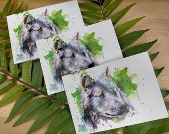Grey Wolf Wild Animal Card | Wolf Card | Christmas Card | Birthday Card | Dog Greetings Card | Animal Card